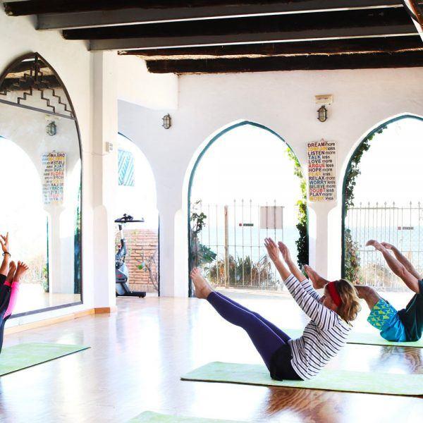 Pilates class in Tarifa at the Hurricane. Spain