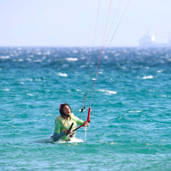 Body drag stage. Kite control in the water in Tarifa.