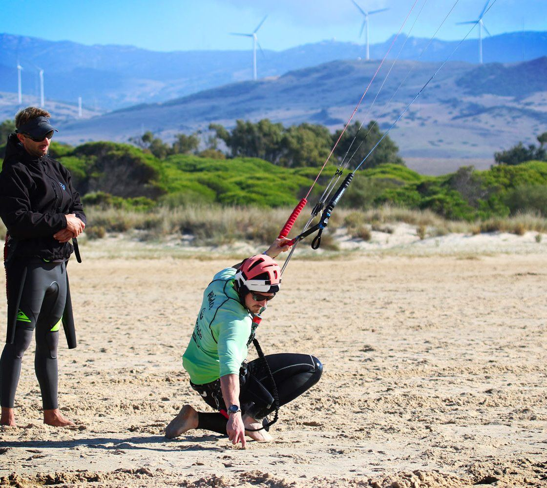 Kite control, beginner course in private class. Freeride Tarifa kite school