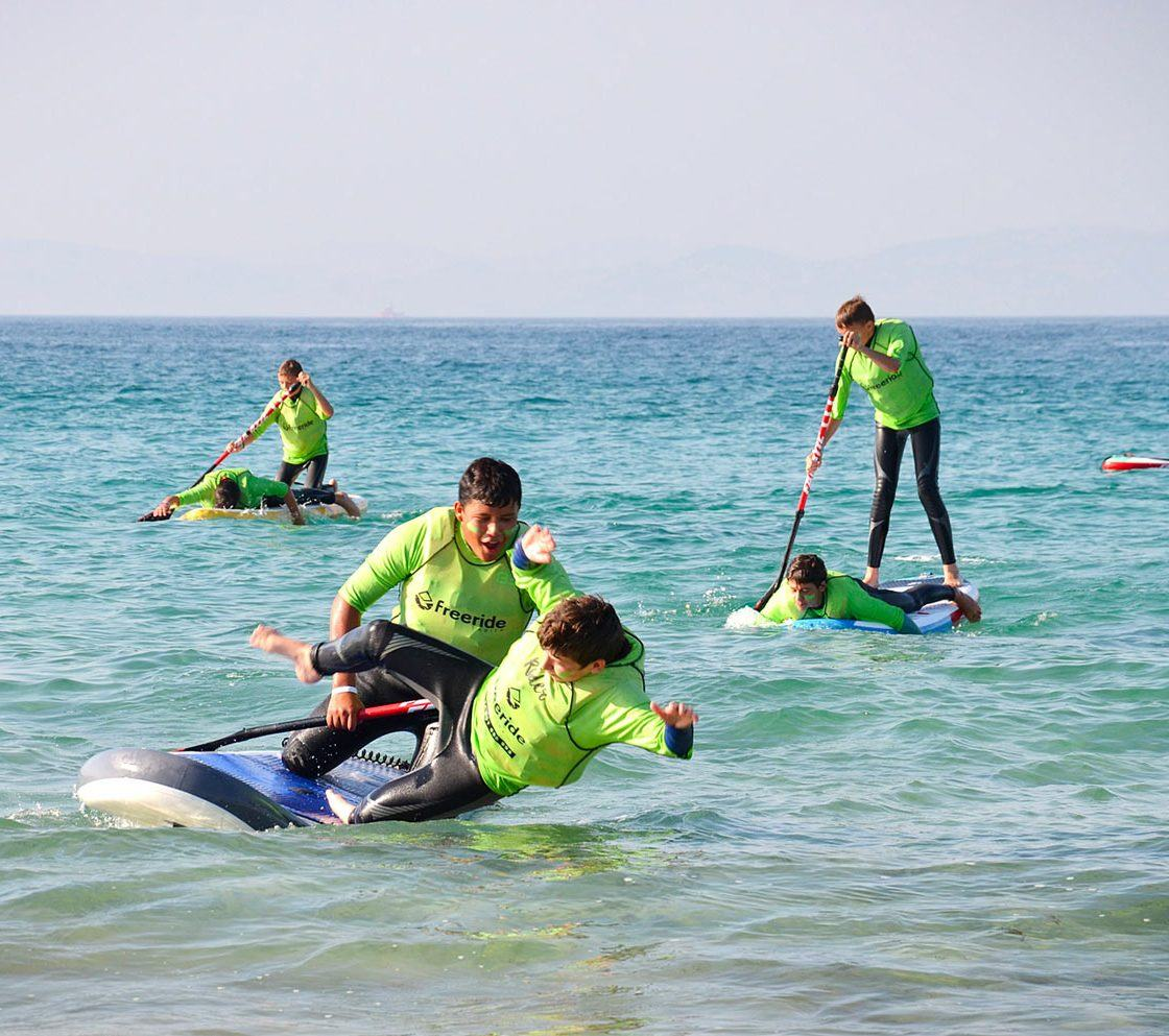Stand Up Paddle classes, beach sport activity, Freeride Tarifa school in spain