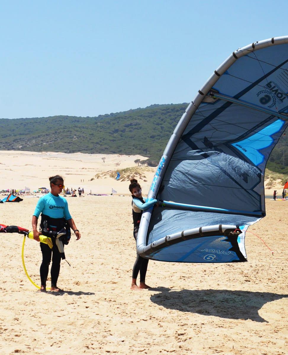 kitesurf Training summer in Tarifa, good conditions in Valdevaqueros. Kitesurf school