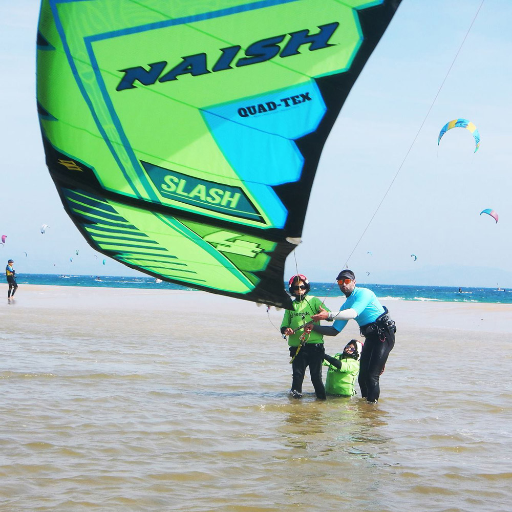 kitesurfing lesson, naish equipment