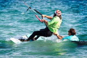 Kite Instructor teaching waterstart