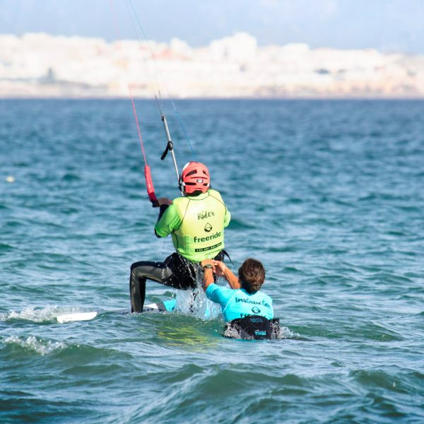 Waterstart stage in valdevaqueros. Tarifa village in Andalusia. Kiteboarding school Freeride Tarifa