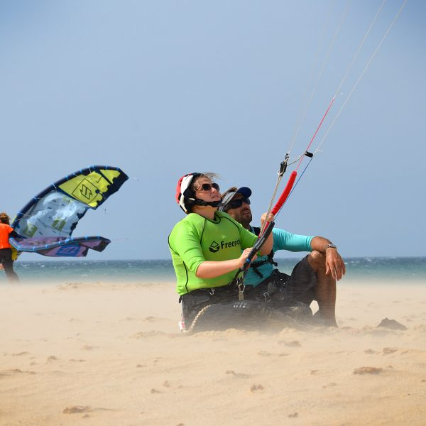 Kite control. First stage when you learn kitesurfing in Tarifa.