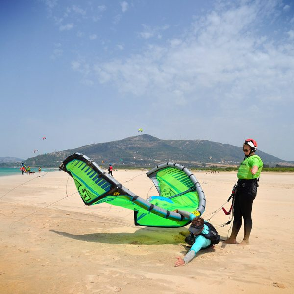 Body Drag exercices on Los Lances Beach. Kite School in tarifa Freeride Tarifa