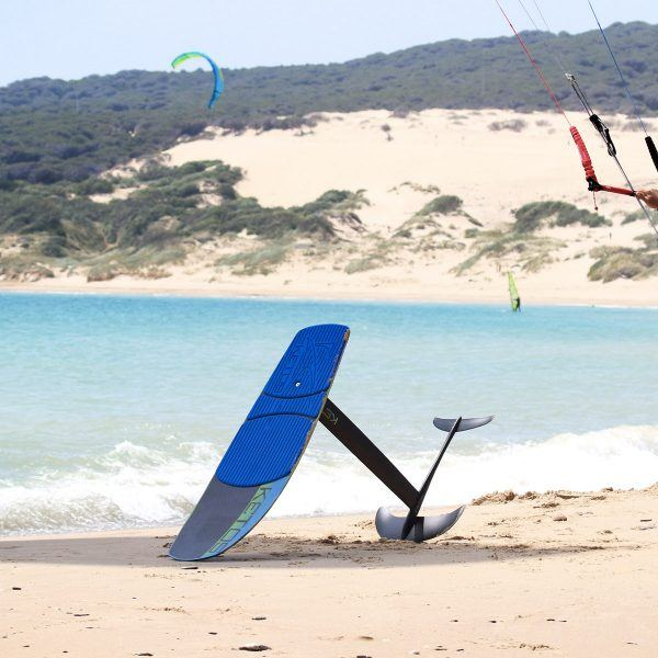 Blue kite foil board on Tarifa beach