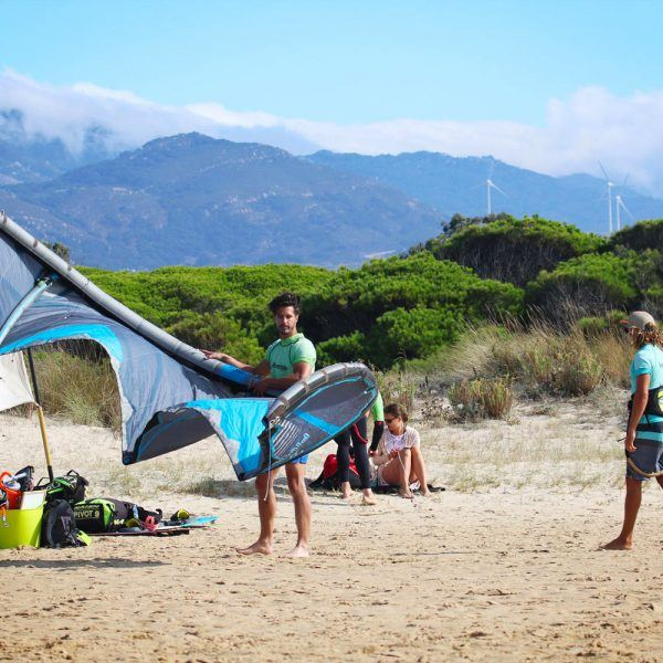 Beginner class, brand Naish equipment, kitesurfing in los lances beach Tarifa