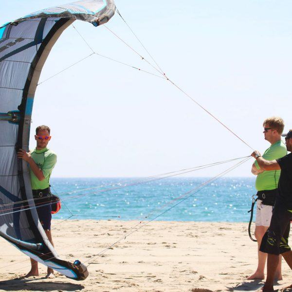 Beginner kiteboarding class. Freeride Tarifa in Spain