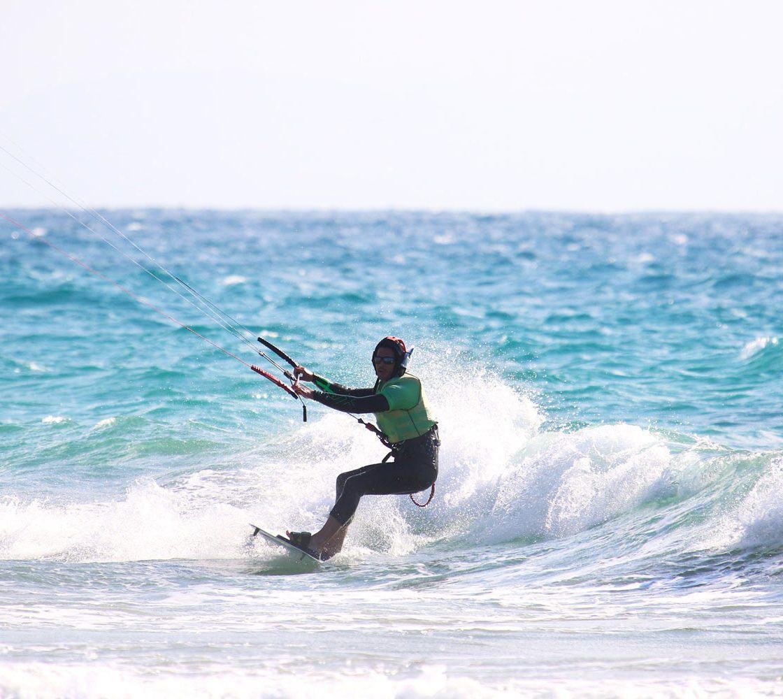 Waterstart riding level in Los lances beach in tarifa Spain