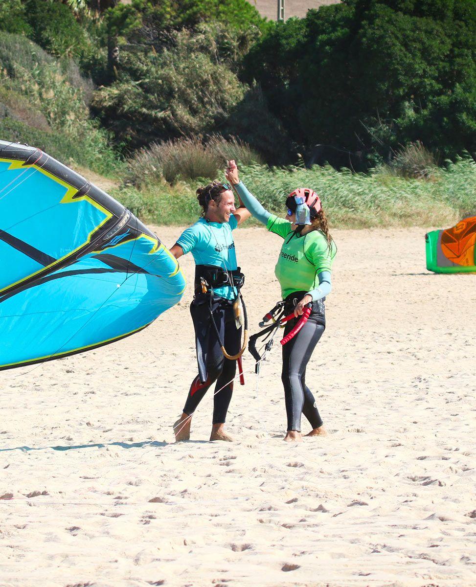 Freeride Tarifa Kite school. Training group class with brand new Naish equipment