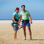 Beginner kiteboarding class in Los Lances beach in Tarifa Spain