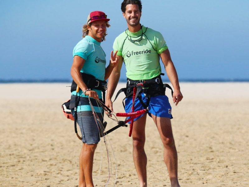 Beginner kiteboarding class in Los Lances beach in Tarifa Spain