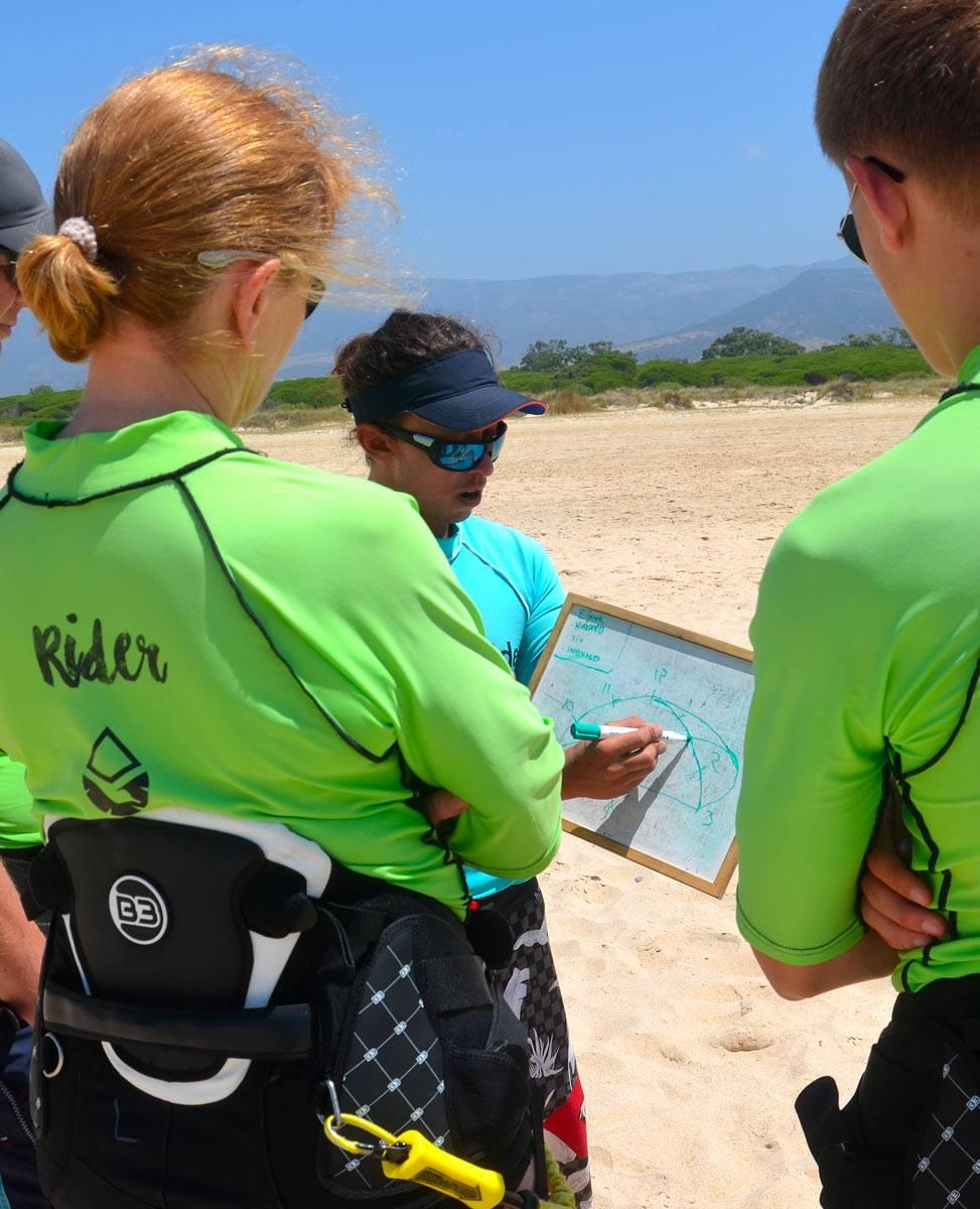 Freeride Tarifa Kite school. Beginner group lessons in Los Lances