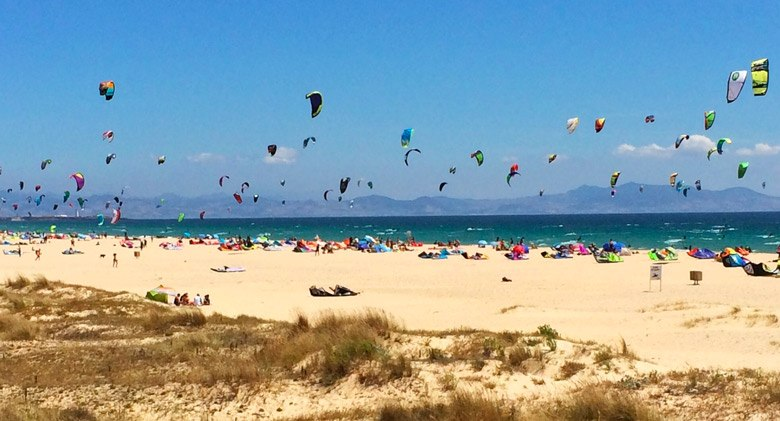 Kitesurf Los Lances beach in tarifa, the wind capital of Europe