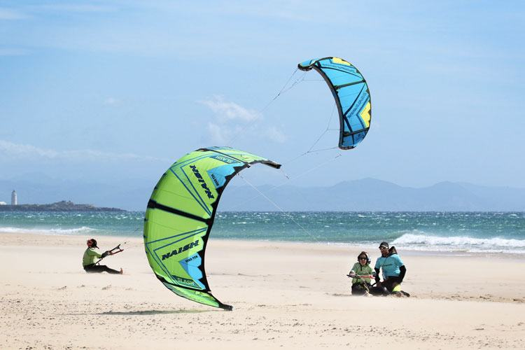 People learning kitesurf control on Tarifa beach