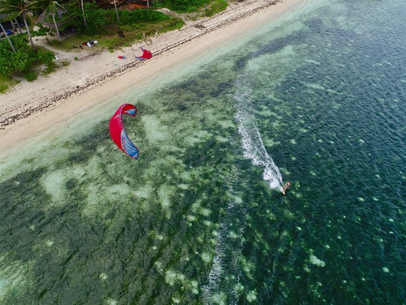 Kitesurfing in Siargao view from the sky