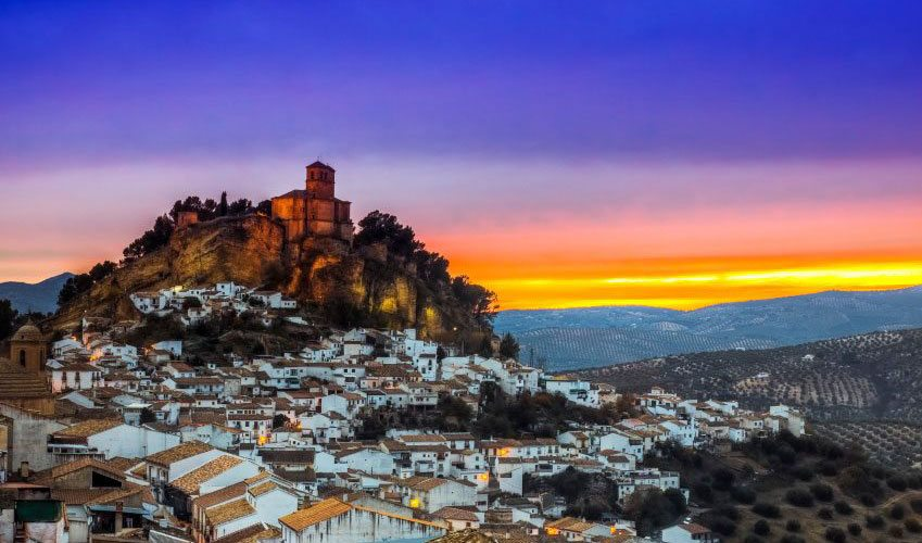White village in sunset top places to visit in Andalusia